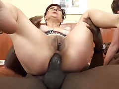 Two lesbos grannies anal sex with BBCs
