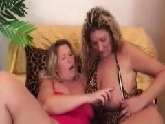 Busty lesbian grannies frolicking with long