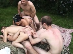 Russian group oldyoung fuck-fest outdoor