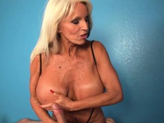 Busty titfucked grandma in jizm control session
