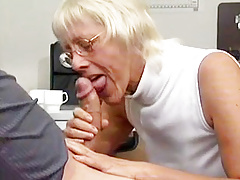 Granny Takes Gigantic Weenie In Office