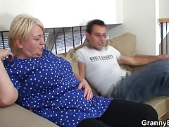 Ash-blonde old  gives head and rides him