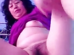 Chinese Granny Showing Puss