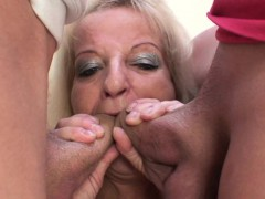 Riding blonde old grandmother blowing another dick