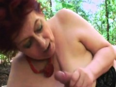 Plump Granny Tamara Pleasuring Big Dong Outdoors