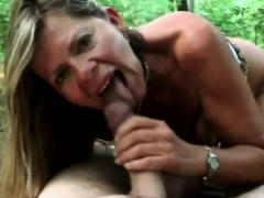 A lusty  mature woman sucks insane man's manhood