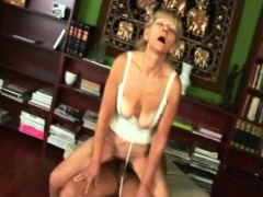 Blonde Granny Inci Gets Pussy Packed While Railing