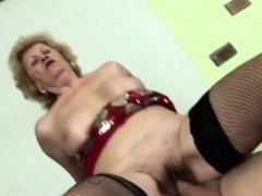 Horny dude licks lusty granny's fur covered pussy befo
