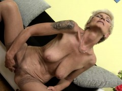 Huge breasted blonde grandmother masturbating