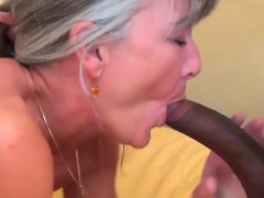 Grey haired  enjoys bbc