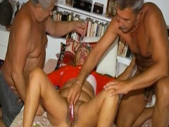 OmaHoteL  Guys Toying with One Hairy Grannie