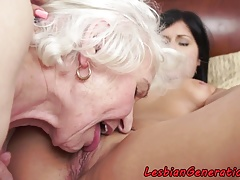 Bigtits granny orally licked by cute honey