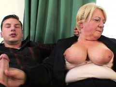 Boozed elderly grandmother getting double-fucked
