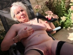 horny grandma playing outside