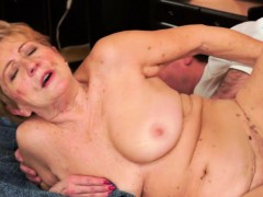 Hairy grandma with saggy jugs gets fucked