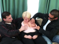 Boozed granny is picked up by 2 fellows