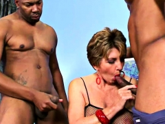 Dark-hued Dudes Boned a Mature Tart