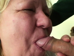Meaty old grandmother gives head and rides lollipop