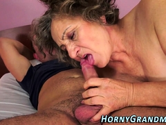 Mature grandma gets licked