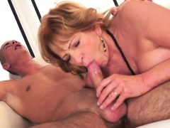 Super-naughty grandma gobbles cock