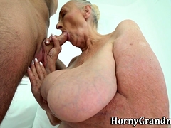 Big grandmother mouth jizzed