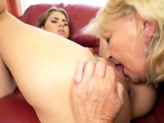 Brown-haired Teen Eats Hairy Mature's Pussy
