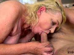 Old blonde eats rump and gets fucked